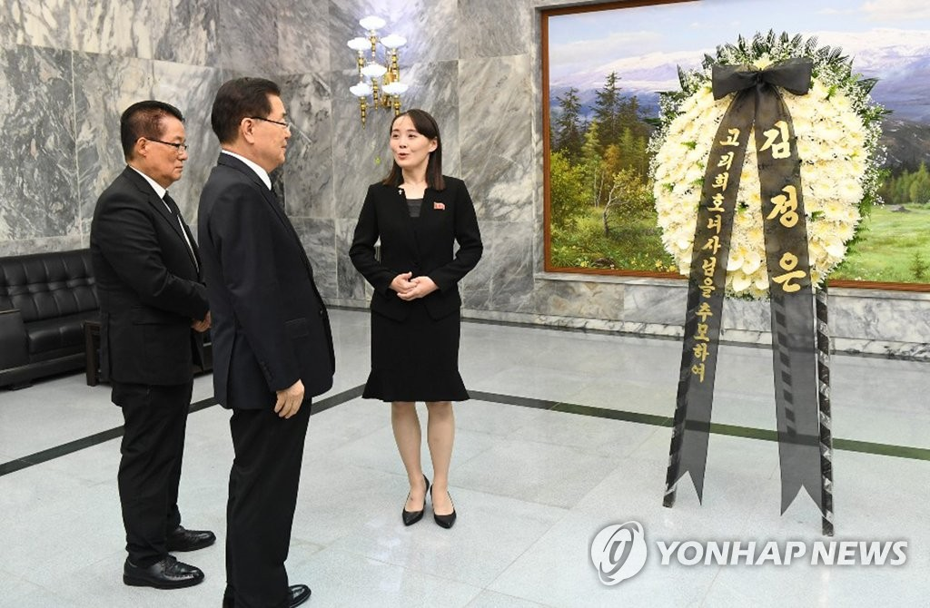김여정 제1부부장, 조화 전달