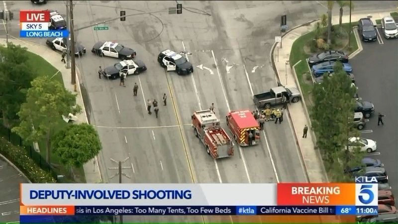 2 wounded as deputies' pursuit of a stolen pickup ends in gunfire