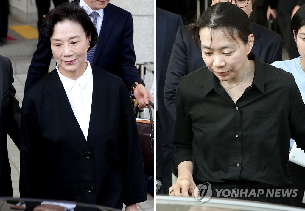 한진그룹 고 조양호 회장의 부인 이명희씨(왼쪽)와 딸 조현아 전 대한항공 부사장