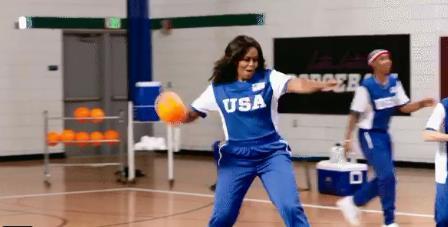 미셸 오바마 피구선수 변신…'팀 USA' 승리 이끌어